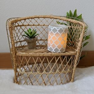 Vintage wicker chair plant holder